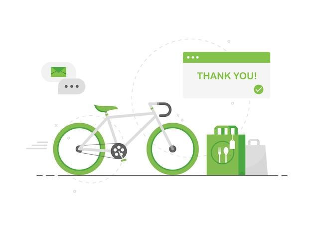 Umweltfreundliche lebensmittellieferung auf grünem fahrrad im flachen design