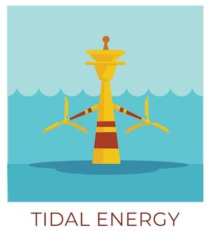 Umweltfreundliche möglichkeiten, energie zu speichern und strom zu nutzen. kraft von wasser gezeiten und wellen. ausrüstung oder fabrik, die quellen sammelt und produziert. generator auf meer- oder ozeanvektor im flachen stil