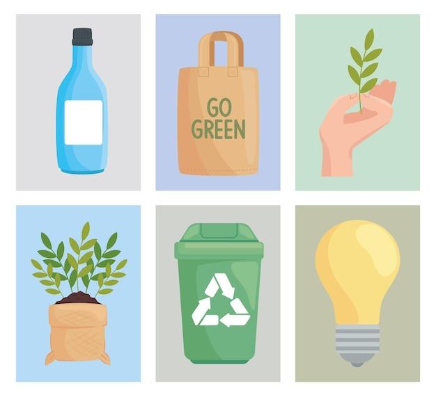 Umweltfreundliche sechs symbole