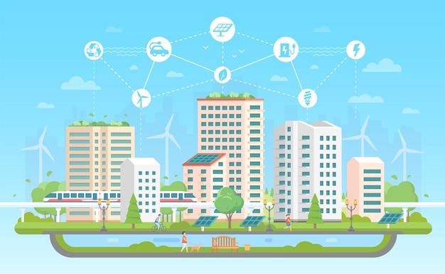 Umweltfreundliche stadt - moderne flache designart-vektorillustration auf blauem hintergrund mit einer reihe von ikonen. eine landschaft mit wolkenkratzern, brunnen, menschen, teich, zug. recycling, energiesparkonzept