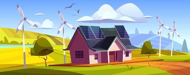 Umweltfreundliche stromerzeugung, grünes energiekonzept. haus mit sonnenkollektoren auf dach und windkraftanlagen. vektorkarikaturlandschaft mit modernem häuschen und windmühlen
