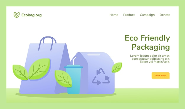 Umweltfreundliche verpackung einkaufstasche tasse getränk lebensmittelbox verpackung recycling-kampagne