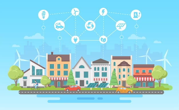 Umweltfreundlicher lebensstil - moderne flache designart-vektorillustration auf blauem hintergrund mit einer reihe von ikonen. ein stadtbild mit gebäuden, sonnenkollektoren, windmühlen. recycling, energiesparkonzept