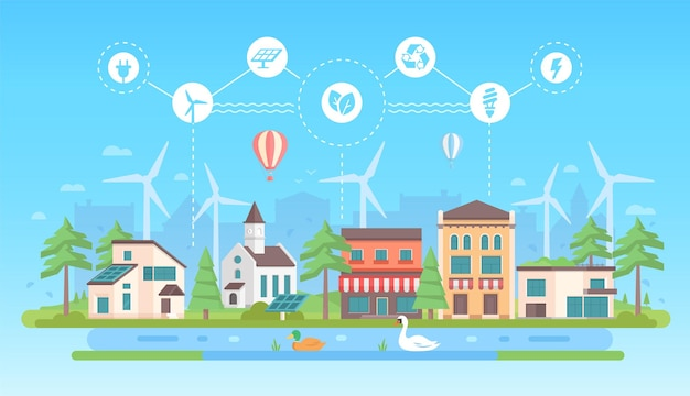 Umweltfreundlicher lebensstil - moderne flache designart-vektorillustration auf blauem hintergrund mit einer reihe von ikonen. ein stadtbild mit gebäuden, sonnenkollektoren, windmühlen. thema recycling, energiesparen