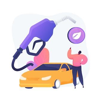 Umweltfreundlicher transport, gesunder kraftstoff, verrottende brennstoffe. fahrzeug ohne schadstoffemission. umweltfreundliche tankstelle.