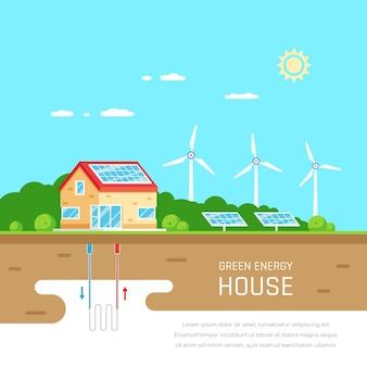 Umweltfreundliches haus. grüne energie. solar-, wind- und geothermie. flacher stil