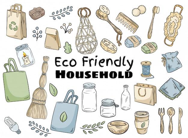 Umweltfreundliches haushaltsset
