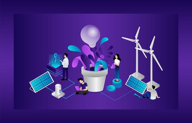 Umweltfreundliches konzept. männer und frauen nutzen alternative energiequellen. energiesparende und freundliche technologien. große glühbirne, sonnenkollektoren, windmühlenturbinen. karikatur