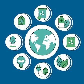Umweltfreundliches set neun symbole