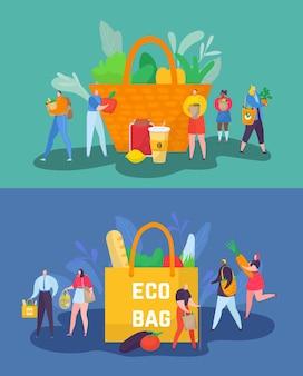 Umweltfreundliches shopping-konzept vektor-illustration winziger mann frau charakter sorge um die ökologie des planeten...