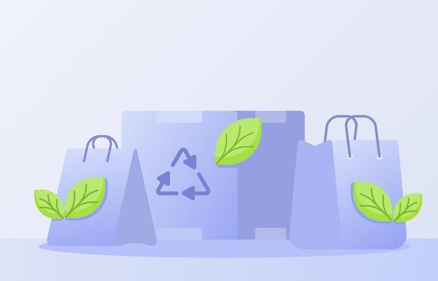 Umweltfreundliches verpackungskonzept mit flachem stil