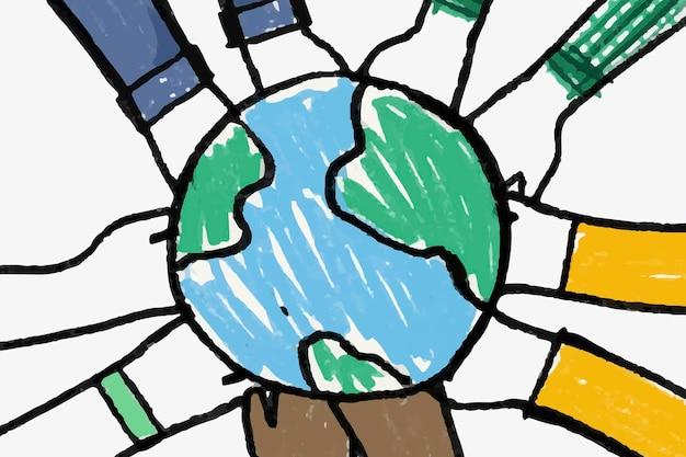 Umweltgekritzelvektor, hände, die globus halten