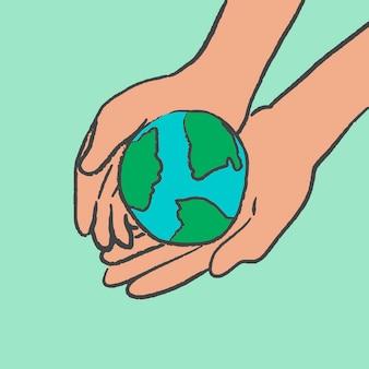 Umweltgekritzelvektor, mit hand, die globus hält