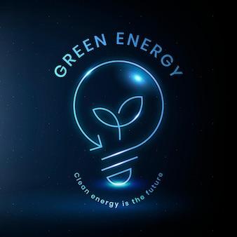 Umweltglühbirnenlogovektor mit grünem energietext