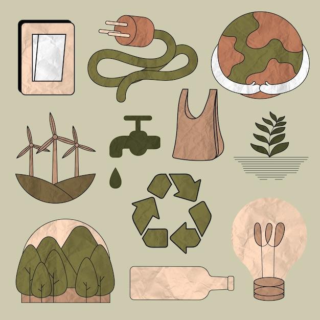 Umweltillustrationsvektorsatz in der zerknitterten papierbeschaffenheit