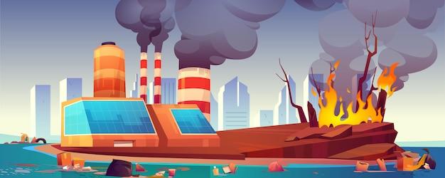 Umweltkatastrophe, luft- und meeresverschmutzung