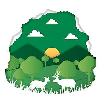 Umweltkonzept im papierstil