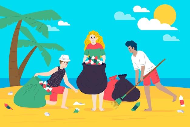 Umweltleute, die den strand säubern