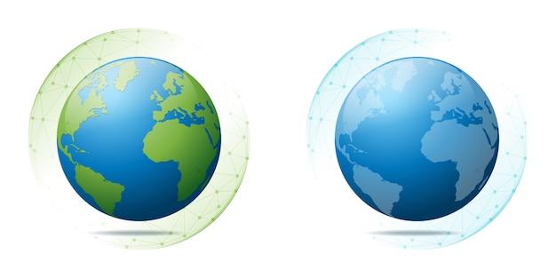 Umweltschutz- und globalisierungskonzept mit erde im polygonalen sphärennetz