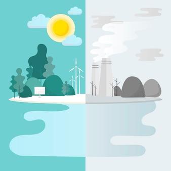 Umweltschutzvektor der grünen stadt