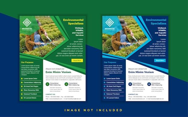 Umweltspezialist-flyer-design-vorlage verwenden vertikalen layout weißen hintergrund