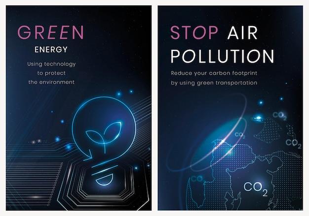 Umwelttechnologie-plakatschablonen-vektorsatz