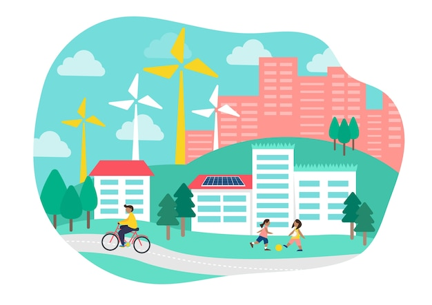 Umweltverträgliche wohnwohnung illustration