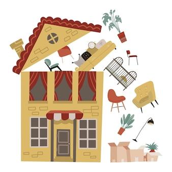 Umzug in ein neues ortskonzept gelbes haus mit einigen möbeln fliegt unter dem offenen dach zu pappkartons