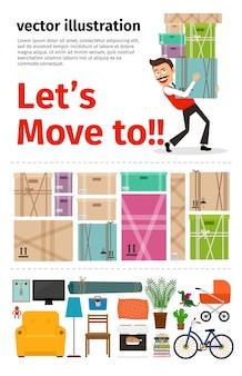 Umzug in neue apartment-infografiken
