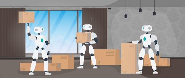 Umzug nach hause banner. umziehen. ein weißer roboter hält eine kiste. kartons. das konzept der zukunft, lieferung und verladung von waren mit robotern. vektor.
