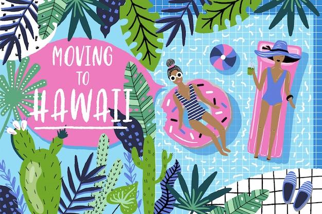 Umzug nach hawaii. schriftzug und hintergrund mit mädchen am swimmingpool