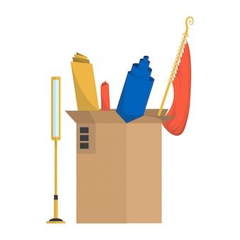 Umzugskartons. firma zog in neues büro, nach hause. pappkartons mit verschiedenen dingen. familie umgezogen. lieferbox paket mit verschiedenen haushaltsgegenständen lampe, vorhänge, rollen, stoff