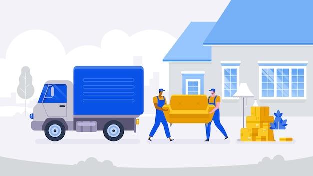 Umzugsservice umzug mit sofa und diversen kisten ins neue zuhause. stapel gestapelter kartons