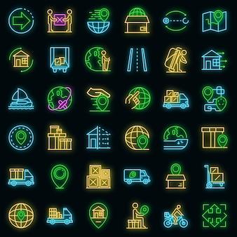 Umzugssymbole gesetzt. umrisse von umzugsvektorsymbolen neonfarbe auf schwarz