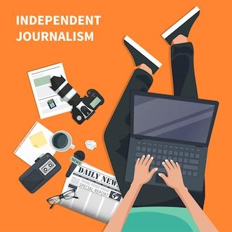 Unabhängiger journalismus flache ikone