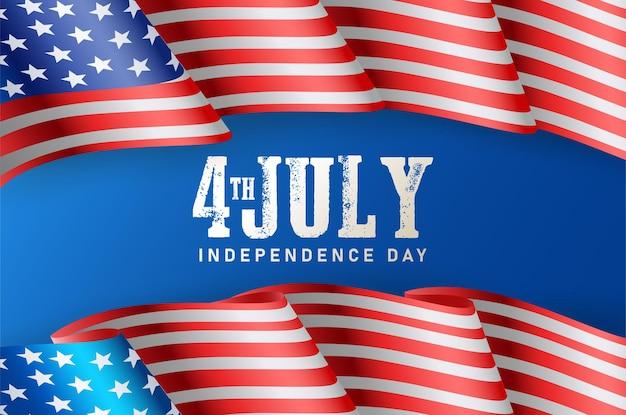 Unabhängiges amerika vom 4. juli mit amerikanischer flagge als hintergrund.