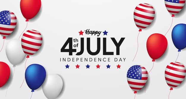 Unabhängigkeit usa mit fliegender amerikanischer flagge des heliumballons. 4. juli