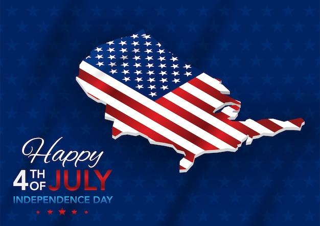 Unabhängigkeitstag 4. juli mit karte