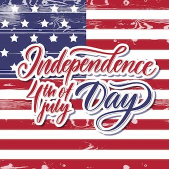 Unabhängigkeitstag 4. juli tag schriftzug karte.