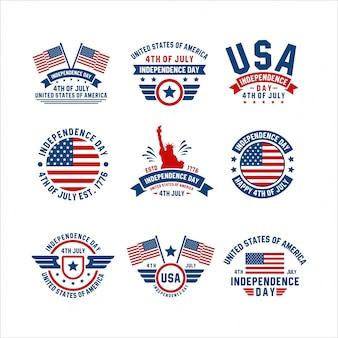 Unabhängigkeitstag 4. juli usa badge collection
