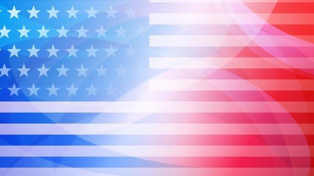 Unabhängigkeitstag abstrakter hintergrund mit elementen der amerikanischen flagge in roten und blauen farben Premium Vektoren