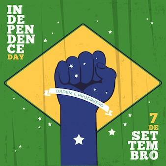 Unabhängigkeitstag der brasilianischen faust in der luft