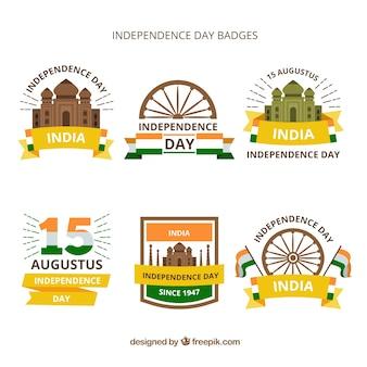 Unabhängigkeitstag der indien-abzeichenansammlung mit flachem design