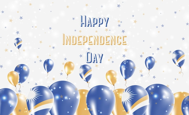 Unabhängigkeitstag der marshallinseln patriotisches design. ballons in marshallesischen nationalfarben. glückliche unabhängigkeitstag-vektor-gruß-karte.