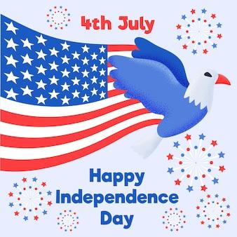 Unabhängigkeitstag der usa 4. juli eagle flattert mit den flügeln und öffnet die flagge amerikas