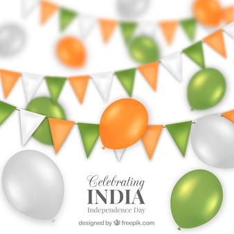 Unabhängigkeitstag feier hintergrund von indien mit luftballons