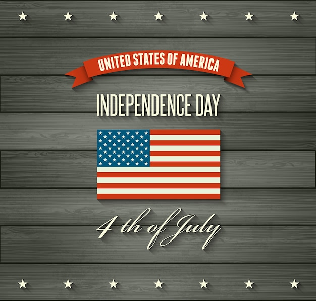 Unabhängigkeitstag hintergrund. flagge der vereinigten staaten. usa flagge. amerikanisches symbol auf hölzernem hintergrund