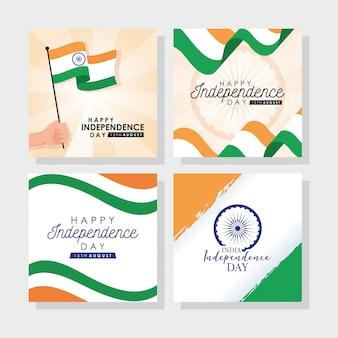 Unabhängigkeitstag indien mit flaggen und festgelegten symbolen