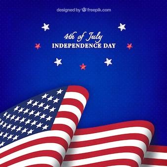 Unabhängigkeitstag mit amerikanischer flagge und sternen