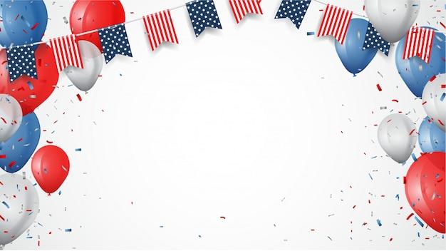 Unabhängigkeitstag von amerika mit konfetti- und farbbandhintergrund